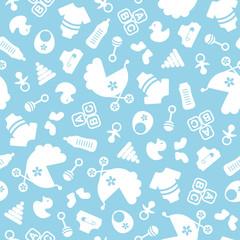 Muster Baby Icons Junge Blau/Weiß
