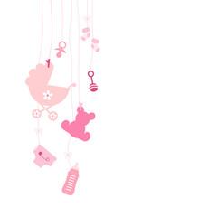 Links Hängende Baby Icons Mädchen Pink