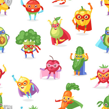 Superhero fruits vector fruity cartoon character of super hero expression vegetables with funny banana carrot or pepper in mask illustration fruitful vegetarian set background
