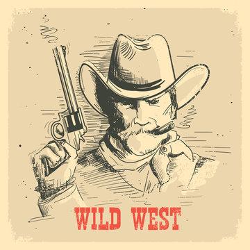 Portrait man in cowboy hat with gun. Gunslinger wild west old poster