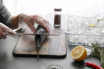 Tasty fish on table