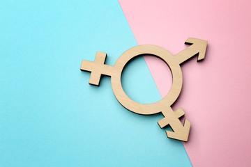 Fototapeta Symbol of transgender on color background