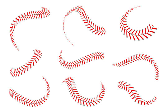 Baseball laces set. Baseball stitches with red threads. Sports graphic elements and seamless brushes. Red laces and stitches