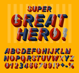 Great hero font. 3D alphabet letters and numbers in a comics style.