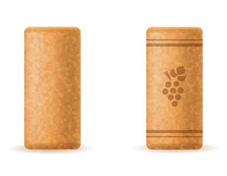 corkwood cork for wine bottle vector illustration