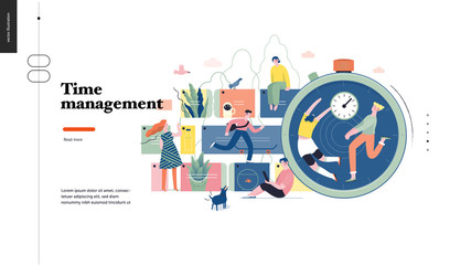 Technology 1 -Time management - modern flat vector concept digital illustration of time management metaphor, a stopwatch, timeline and people in workflow. Creative landing web page design template