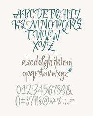Latin calligraphic alphabet written with brush