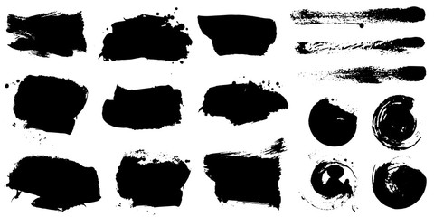 Set of black ink hand drawn brushes collection isolated on white background for your design. Dirty artistic brush strokes element. Black labels, background, paint texture. Vector