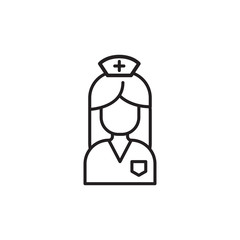 Modern medical line icon of nurse. Gynecology linear symbol. Outline clinic logo for polyclinics. Obstetrics design element for sites, hospitals. Medical business simple logotype, maternity sign.