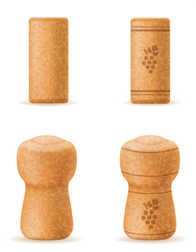 corkwood cork for wine and champagne bottle vector illustration