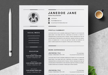 Black and White Resume, Cover Letter, and Reference Sheet Layout