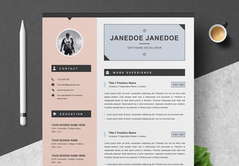 Pink Resume, Cover Letter, and Reference Sheet Layout