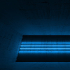 3d interior with four cyan neon light