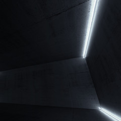 Abstract concrete interior with neon