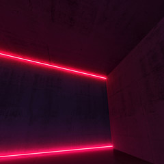 3d red neon light lines