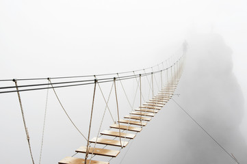 Poster de jardin Ponts Hanging bridge in fog