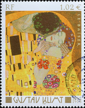 Detail of the kiss by Klimt on french stamp