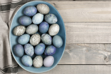 Blue and gray Easter eggs