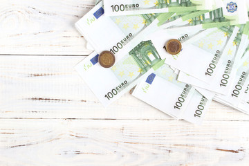 Money euro bills and coins