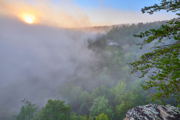 Acrylic Prints Coral Sunrise at Big South Fork National River and Recreation Area, TN