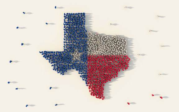 Large group of people forming Texas flag map in The United States of America in social media and community concept on white background. 3d sign symbol of crowd illustration from above