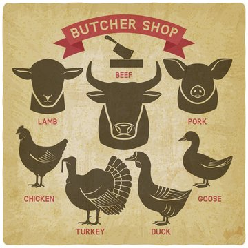 silhouettes of animals set. butcher shop icons vintage background