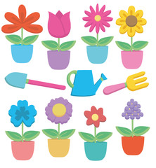 Colorful cute cartoon potted flowers and gardening tools vector illustration collection