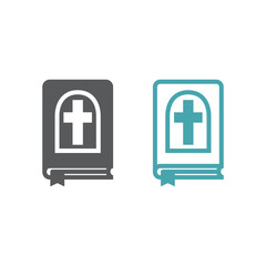 Vector illustration of the book Bible. Set of two vector icons. Flat design Monochrome