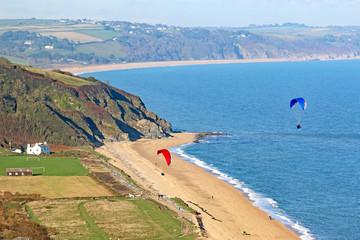 Paragliders above Beesands Beach, Devon
