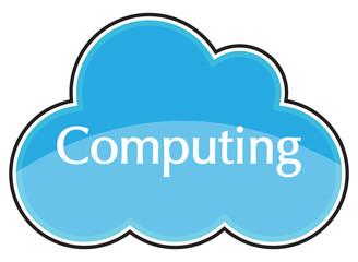 Cloud Computing Icon Blue