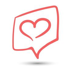 Like heart in frame with shadow. Social media like