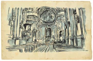 Church interior. An hand drawn vector illustration. Engraved effect.
