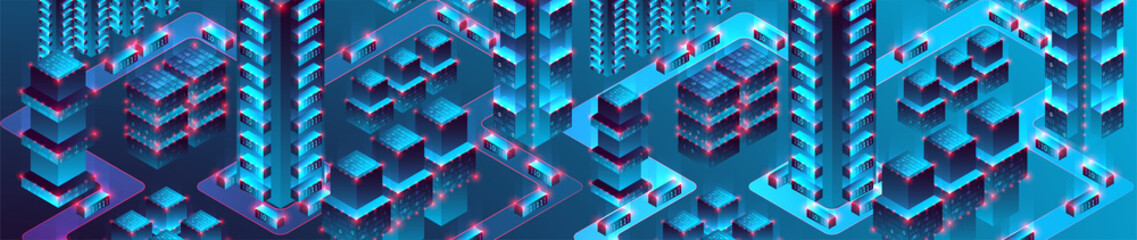 Smart city. Isometric big data concept, database.  Abstract technology background. Vector illustration