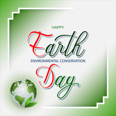 Celebration, design, background with handwriting 3d texts and green Earth globe for Earth day, event celebration; Vector illustration