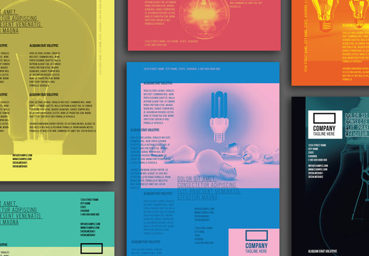 Colorful Flyer Layout Set with Lightbulb Elements
