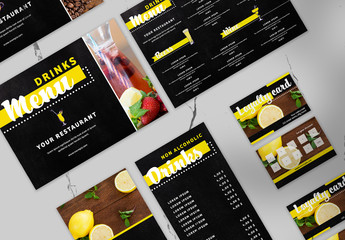 Colorful Menu, Gift Voucher, Loyalty Card, Drink Coaster Layout Set