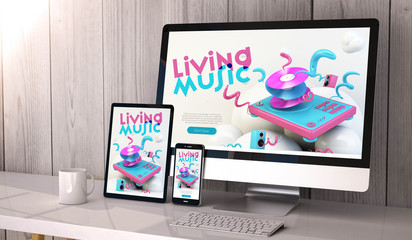 devices responsive on workspace cool music website design