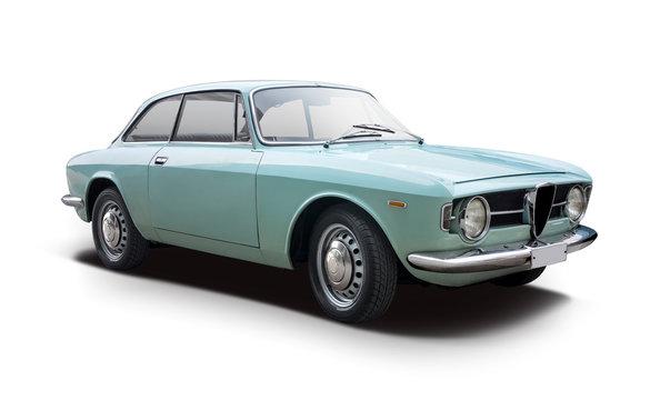 Classic Italian sport car isolated on white
