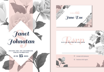 Wedding Invitation Layout Set with Floral Elements
