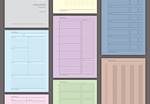 Colorful Planner Layout Set