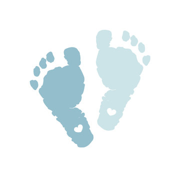 Baby foot prints. Baby boy. Blue colored. Baby boy foot print with heart. Baby shower greeting card. Foot steps