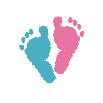 Baby foot prints. Baby girl baby boy. Twin baby symbol. Blue and pink colored baby gender reveal