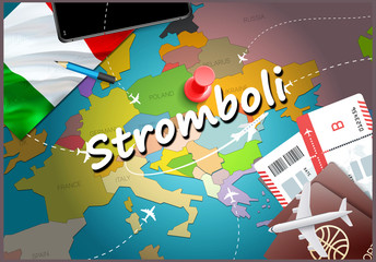 Stromboli city travel and tourism destination concept. Italy flag and Stromboli city on map. Italy travel concept map background. Tickets Planes and flights to Stromboli holidays Italian vacation