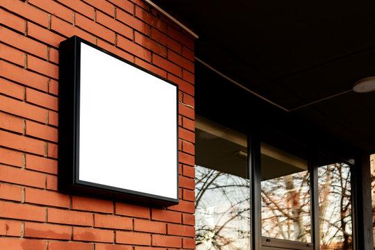 Blank square signboard, business light up sign mock up