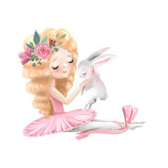 Cute ballerina, ballet girl with flowers, floral wreath and baby bunny