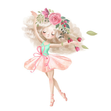 Cute ballerina, ballet girl with flowers, floral wreath