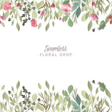 Watercolor floral background, drop seamless design, backdrop with bouquet, flowers arrangement. Vintage rose flowers