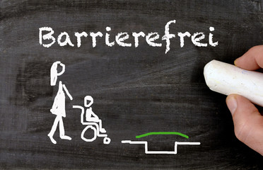 Barrier free environment chalkboard in german Barrierefrei