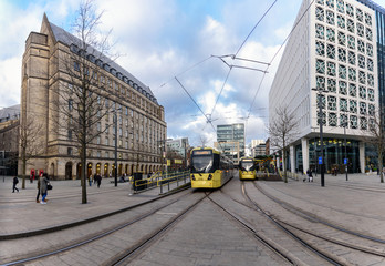Manchester's Metrolink tram system has been developed to encourage easier and faster travel in the city centre and beyond.