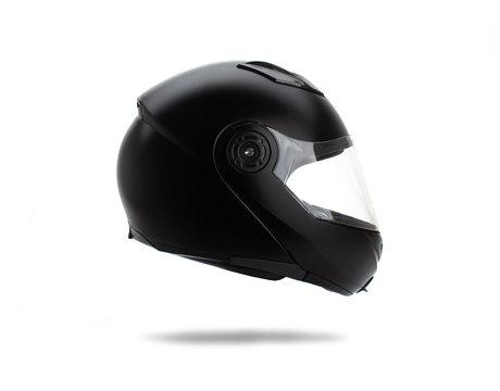 Black motorcycle helmet on white background.